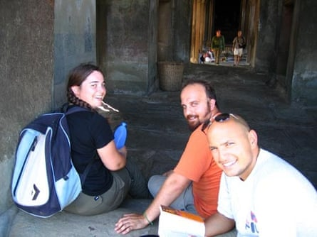 Andy Chaggar (centre) and Nova taken in Cambodia a few days before the Tsunami struck on 26 December, 2004