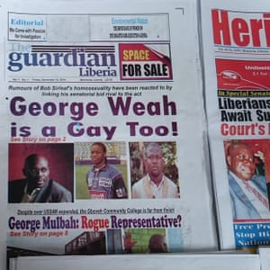 The Liberian Guardian, with a knock off masthead from the famous UK masthead, keeps the political discourse sophisticated. #homophobia #Liberia
