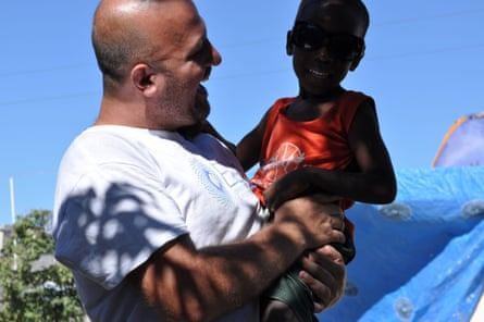 Andy Chaggar working with his charity, International Disaster Volounteers after the 2010 earthquake hit Haiti in 2010.  IDV spent eighteen months in Port-au-Prince and in that time welcomed almost 200 volunteers from nineteen countries