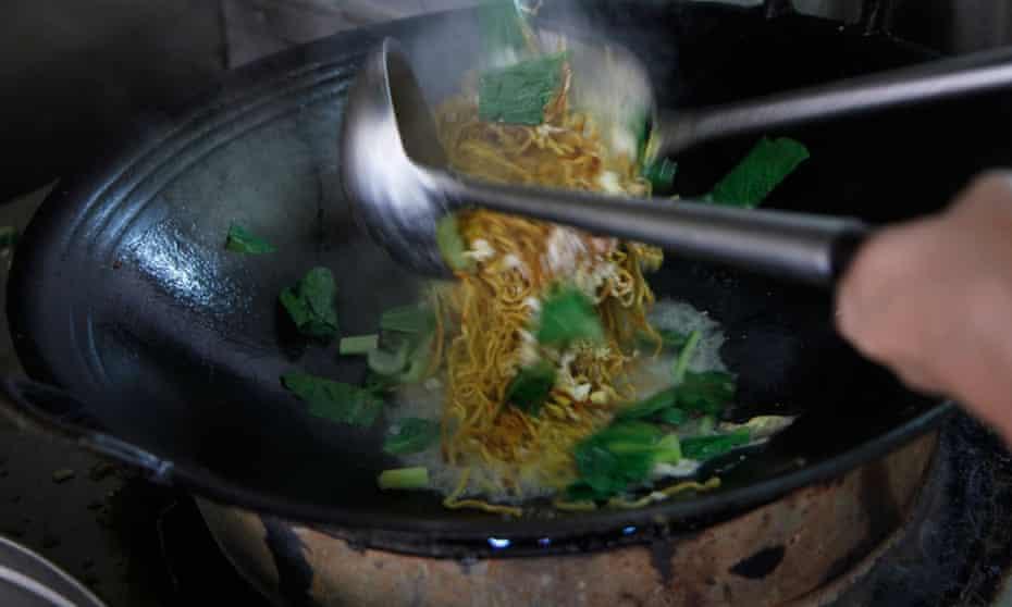 Tuaran Mee being made to order in the kitchen at Tai Fatt Restaurant, Tuaran