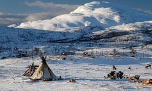 A traditional Sámi camp in northern Norway.