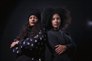 Ibeyia French Cuban musical duo consisting of twin sisters, Naomi Diaz and Lisa Kainde signed to the record label, XL Recordings, photo by Sarah Lee