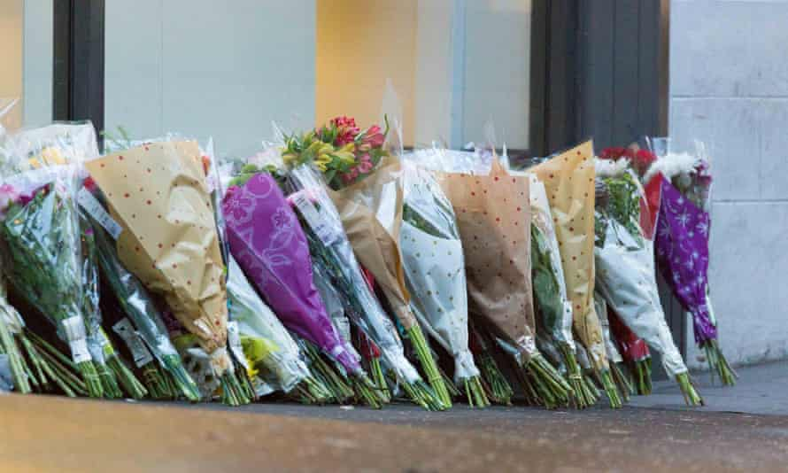 Floral tributes on Queen Street near the scene of the crash