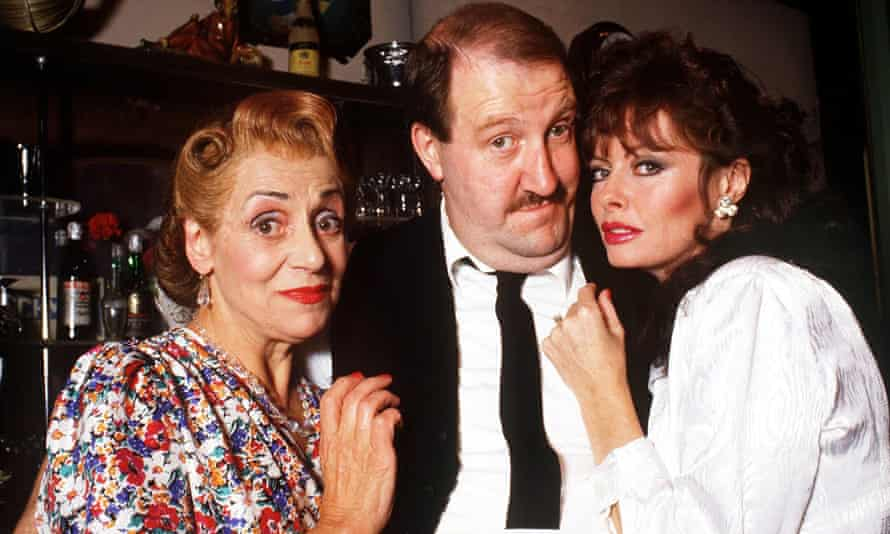 A 1987 episode of 'Allo 'Allo, written by Jeremy Lloyd and David Croft, starring Gorden Kaye, centre, with Carmen Silvera, left, and Vicki Michelle.