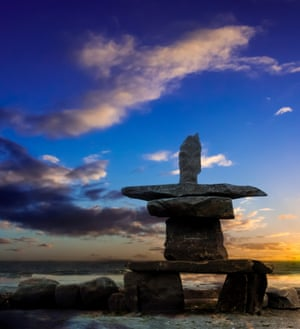 An inukshuk stone figure built by Manitoba indigenous people