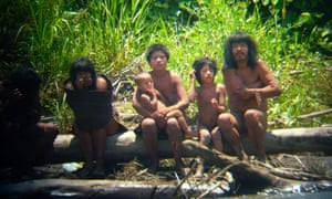 Members of Mashco-Piro tribe in Peru