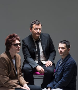 The Manic Street Preachers; Lead singer James Dean Bradfield, bassist, pianist and singer Nicky Wire, and drummer Sean Moore photographed ahead of Glastonbury in London by David Levene in June