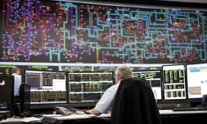 UK's National Grid control centre in Sindlesham, Berkshire, showing map of electricity pylons in the country.