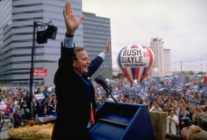 Bush campaigns successfully for the US presidency in 1988.