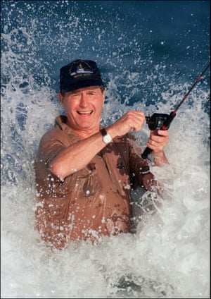 The president-elect enjoys a spot of fishing in Florida in 1988.