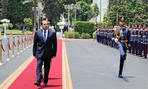 Abdel Fattah al-Sisi reviews guard of honour
