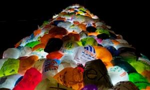 Christmas tree made of plastic bags