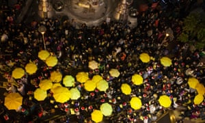 Protesters' yellow umbrellas seen from above in Causeway Bay, Hong Kong.