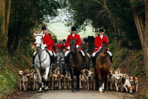 Members of the Old Surrey Burstow and West Kent Hunt ride to Chiddingstone Castle