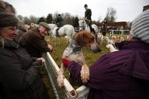 Members take part in the Duke of Beaufort Boxing Day hunt at Worcester Lodge, Gloucestershire