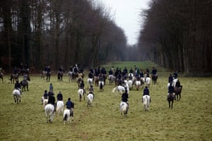 Riders taking part in the Duke of Beaufort Boxing Day hunt at Worcester Lodge, Gloucestershire