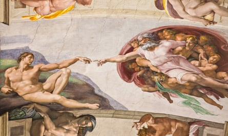 Sistine Chapel: hand of God and creation of man
