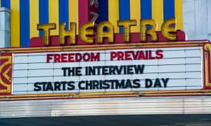 "The Plaza Theatre marquee during the release of ""The Interview"" at the Plaza Theatre, 25 December 2014 in Atlanta, Georgia."