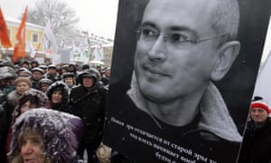 A rally of Khodorkovsky's supporters in St Petersburg, Russia, on 12 December 2010.