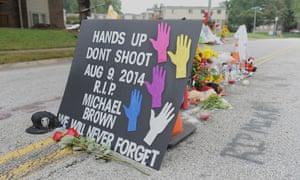 A memorial where Michael Brown was killed in is seen in Ferguson, Missouri.