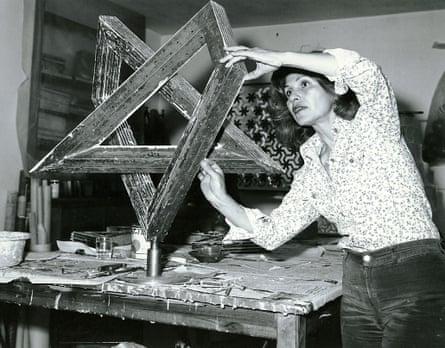 Monir Shahroudy Farmanfarmaian in her studio working on Heptagon Star, Tehran, 1975.