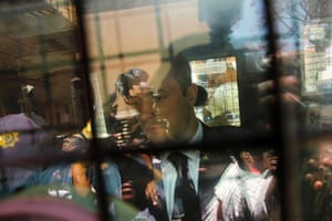 Oscar Pistorius is photographed in a police van after his sentencing at the North Gauteng high court in Pretoria on 21 October 2014.