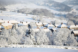 Snow covered houses in Buxton.