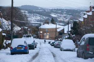 Snowy conditions in the Crookes area of Sheffield after wild and wintry weather swept the UK.