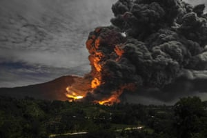 Mount Sinabung volcano erupts in North Sumatra, Indonesia, on 8 October 2014.