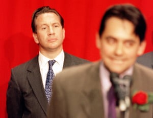 Labour candidate Stephen Twigg (R) makes his victory speech in the Enfield Southgate constituency where he ousted former Conservative Minister of Defence Michael Portillo in 1997.