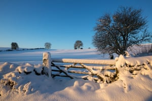 A view of the snow covered Peak District National Park.