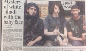 Daily Mail newspaper article headlined Mystery of white jihadi with the baby face.