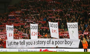 Liverpool's ticket price banner at Anfield.