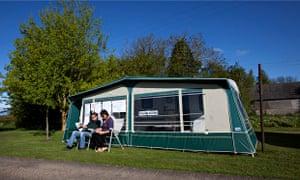 Kenton, Suffolk, voting in a caravan in a field.