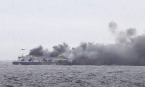 Norman Atlantic on fire