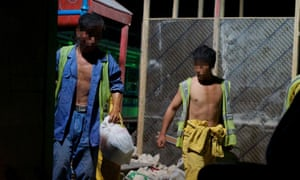 North Korean workers on a construction site in Qatar