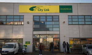 A City Link parcel delivery depot in South London.