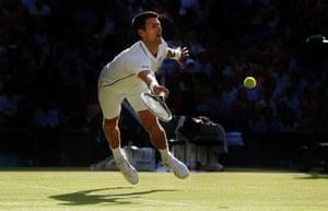 Novak Djokovic, men's singles final, Wimbledon. 6/7/14.
