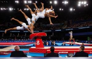 Mens team gymnastics final, Commonwealth Games, SSC Hydro, Glasgow. 29/7/14.