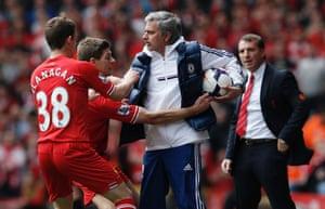 Jose Mourinho, Liverpool v Chelsea Premier League match, Anfield. 27/4/14.
