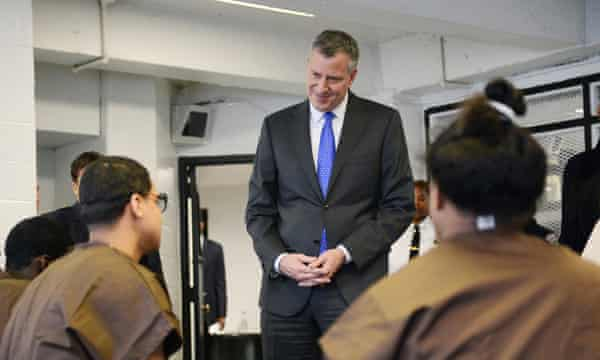 New York City Mayor Bill de Blasio tours and meets with youth offenders at Second Chance Housing on Rikers Island in New York.
