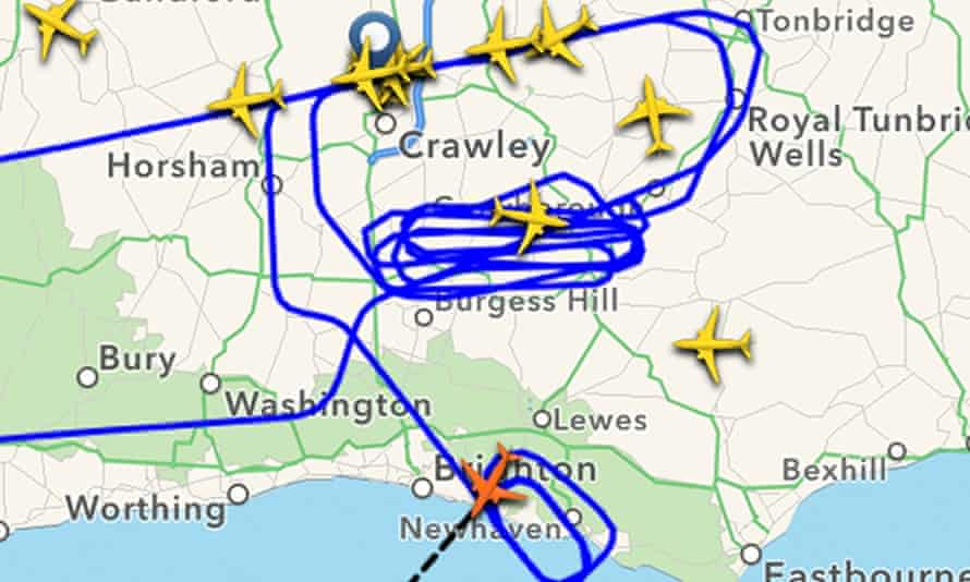 Image taken from the FlightRadar app showing the plane that is trying to land back at Gatwick airport.