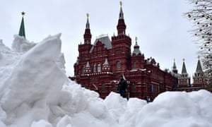 Snowfall on Red Square in Moscow last week
