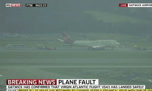 Television footage from Gatwick airport shows flight VS43 after landing.
