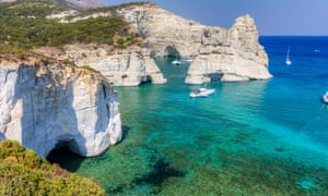 Rock formations and a turquoise sea on the island of Milos