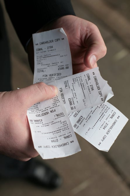 Card receipts for the £3,500 Franklin lost in an hour in the runup to Christmas.