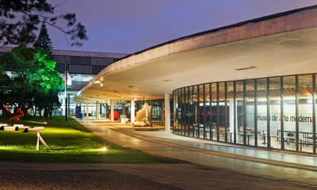 The Museum of Modern Art is São Paulo, Brazil, designed by Lina Bo Bardi and Oscar Niemeyer.