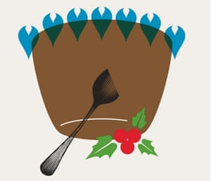 Illustration of an upside-down Christmas pudding
