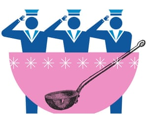 Illustration of sailors and a bowl with a ladle
