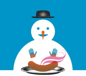 Illustration of a snowman warming his hands over a sausage